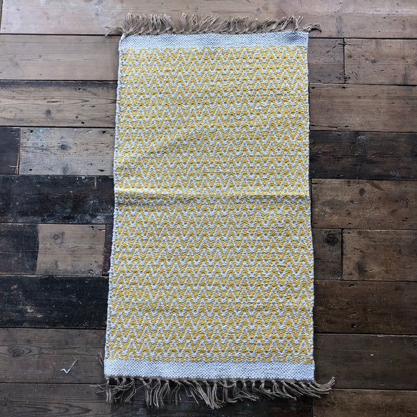 Yellow and Natural Jute & Cotton Zig Zag Rug 70x115cm
