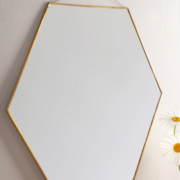 Brass hexagonal mirror