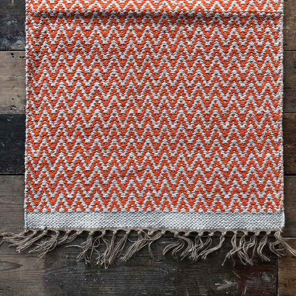 Orange and Natural Jute & Cotton Zig Zag Rug