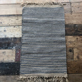 Grey and Natural Jute & Cotton Stripe Rug 60x90cm