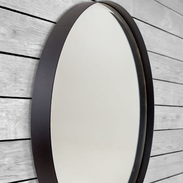 Large Black Steel Round Mirror