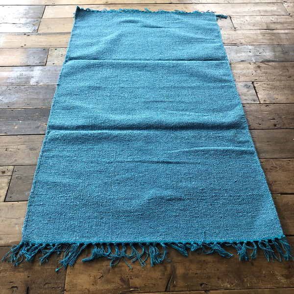 Light Blue Cotton Plain Rug 90x150cm