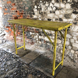 Vintage Yellow Hall Trestle Table