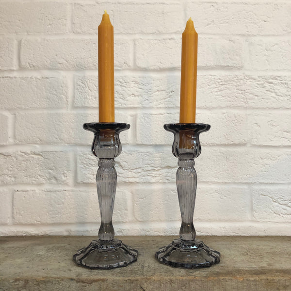 Grey Cut Glass Candlestick