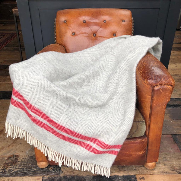 Grey and Watermelon Stripe Fishbone Blanket