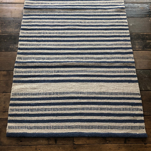 Denim and Natural Stripe 90x150cm Rug