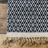 Navy and Natural Jute & Cotton Diamond Rug 90 x 150cm