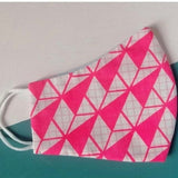 Neon Pink Triangles Cotton Face Mask