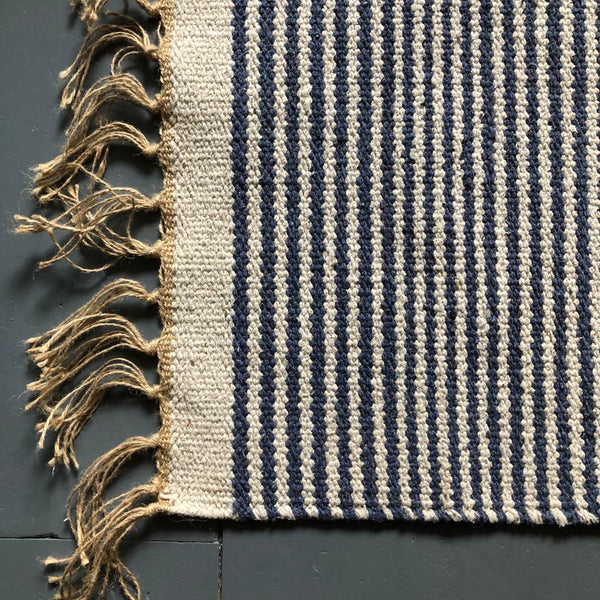 Dark Blue and Natural rug 60x90cm