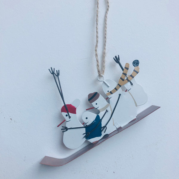 Snowmen on Sledge Decoration