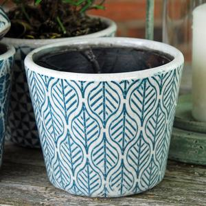 Leaf Print Glazed Plant Pot - Teal