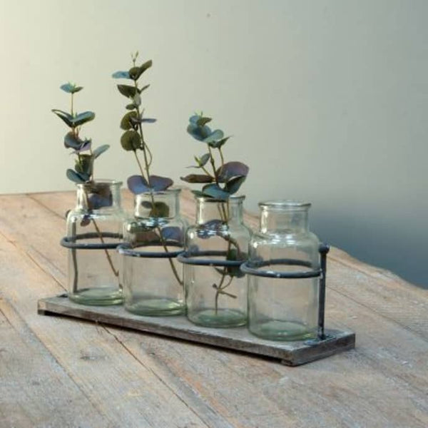Wooden Rack with Four Mini Jars