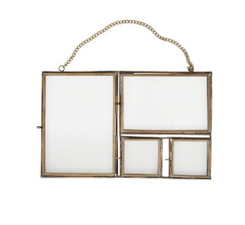 Hanging Antique Brass Multi Aperture Frame - Large