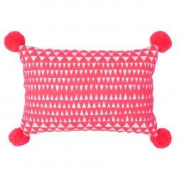 Medina Embroidered Cushion Coral/White Rectangle