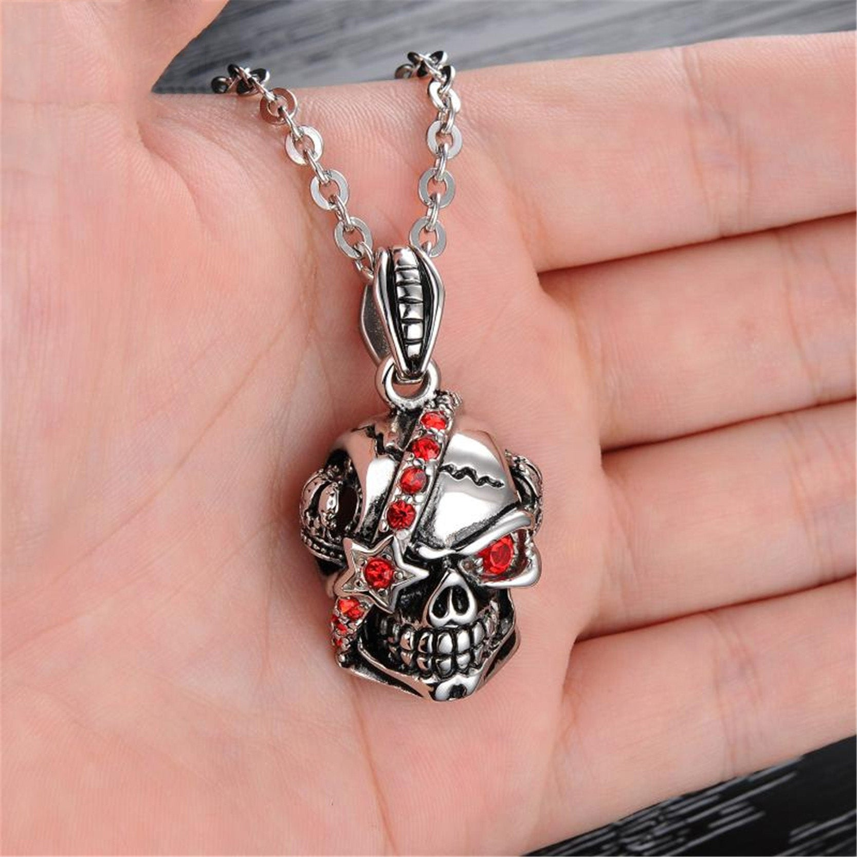 Punk red crystal skull pendant offthelicks punk red crystal skull pendant aloadofball Choice Image