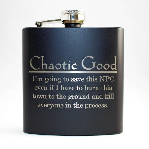 Chaotic Good Black Matte Flask