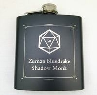 D20 Personal Character Black Matte Flask
