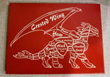 Dragon Butcher Chart Laser Etched Canvas 12x16