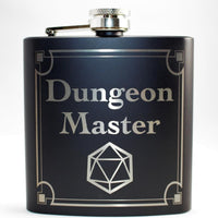 Dungeon Master D20 Black Matte Flask