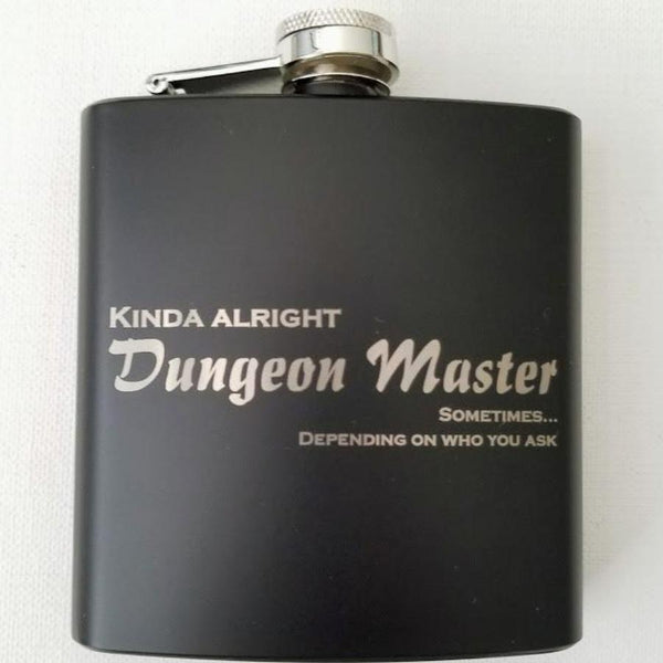 Kinda Alright Dungeon Master Black Matte Flask 6oz