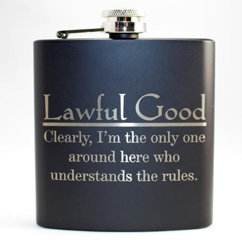 Lawful Good Black Matte Flask