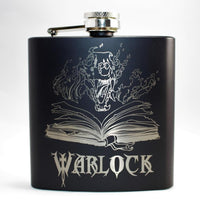 Warlock's Spell Book Black Matte Flask