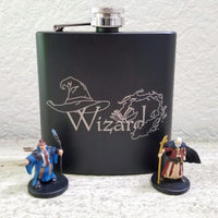 Wizard Spell Book Black Matte Flask