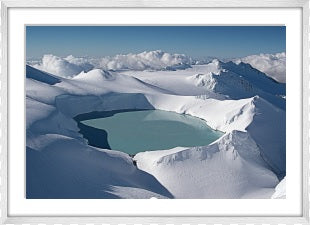Crater Lake Mount Ruapehu Framed (white)