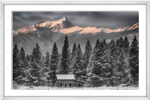 An Old Cabin framed (white)