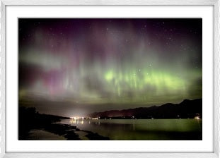 Aurora Borealis over Lake Windermere Framed (white)