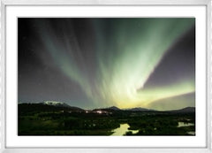 Aurora Borealis Over Columbia Wetlands Framed (white)