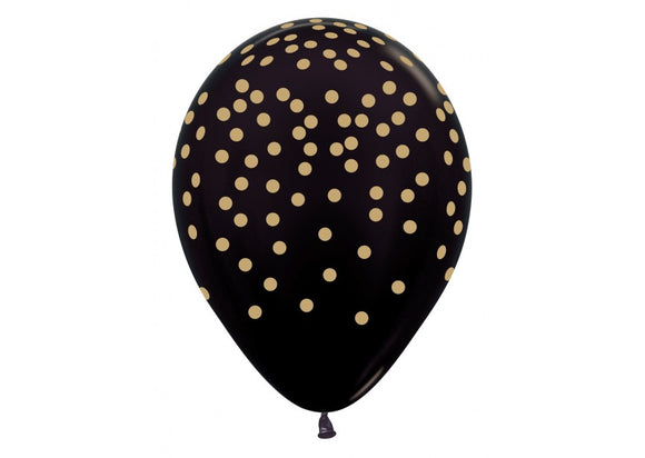 R12 - Confetti - Gold Print - Metallic Black