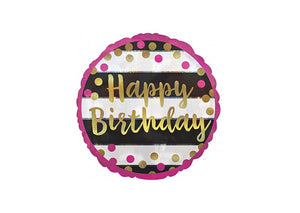 Happy Birthday - Pink & Gold - 18 inch - Anagram