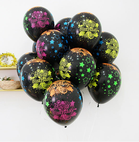 Globos no.12 negro con printeado de colores Happy Birthday