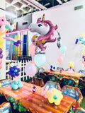 Set de unicornio supershape + 3 globos no.12 + pesita