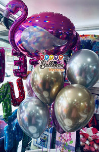 Globo de flamenco rosa iridiscente, 33.0 in+ 6Chrome