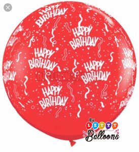 Globo no.36 rojo printed Happy Birthday
