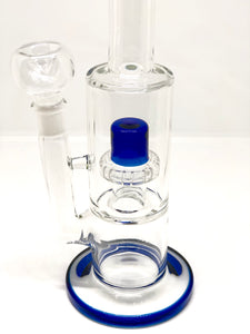 Medium Blue Accent Stemless Water Pipe - Dome Percolator