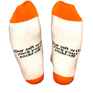 men socks white with orange toes and heels with saying our salt will rock your socks off