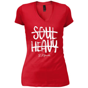 SOUL HEAVY | Ladies' Fitted V-Neck T-Shirt