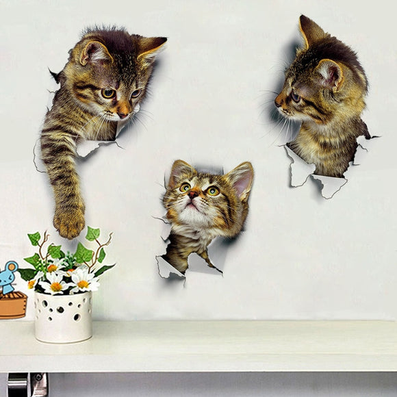 Hole View Cute Cat 3D Wall Sticker