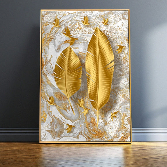 Nordic Golden Leaf Wall Art Canvas Paintings