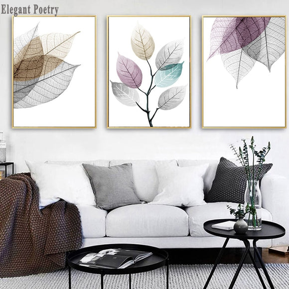 Scandinavian Colorful Transparent Leaf Abstract Nordic Wall Art