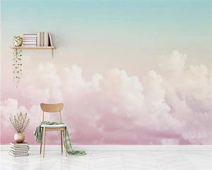 Beibehang Custom 3D Beautiful Pink Sky Cloud Wallpaper