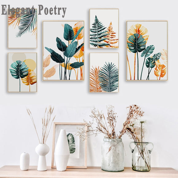 Nordic Plant Leaves Poster Canvas Painting
