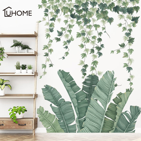 Removable Green Leaf Flower Vine Wall Stickers