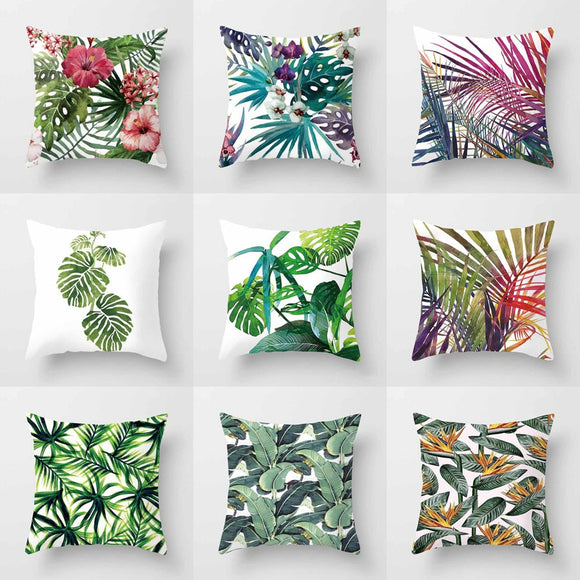 Tropical Plants Cushion Cover Polyester Green Leaves Decorative