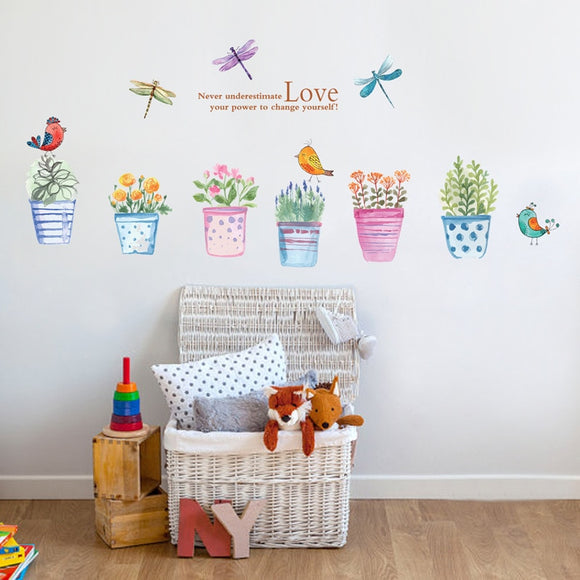 Garden Beautiful Flowers Potted Plant Wall Stickers