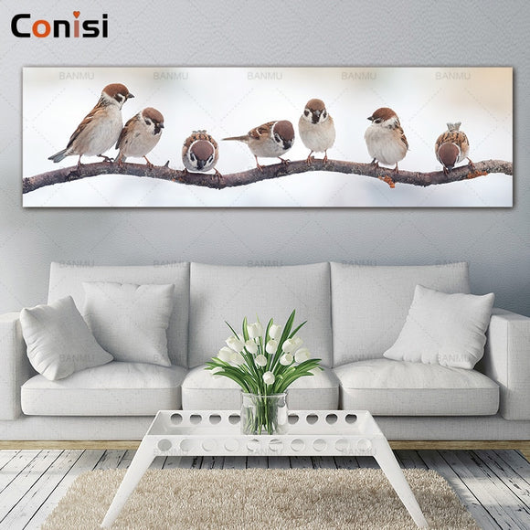 Conisi Lovely Birds Family Wall Art Canvas Paintings