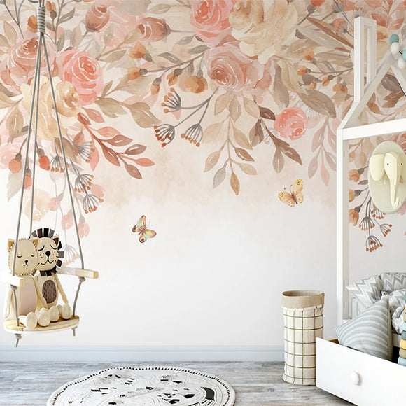Pastoral Flowers Hand Painted Nordic Wallpaper